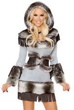 Roma grey furry hooded eskimo dress costume