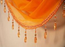 Orange Crystal Beaded Sparkle Swag Pelmet Valance Voile Net Curtain Swag Single
