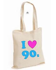 I Love The 90's SEXY TOP Retro COTTON TOTE Pop Fancy Dress Costume (90's, BAG )