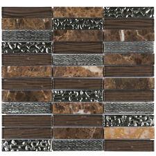 Brown Cold Spray Emperador Dark Marble Mosaic Tile Stacked Kitchen Backsplash