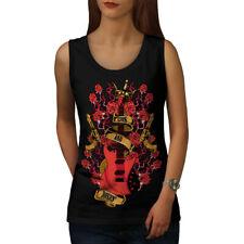 Wellcoda Roses and Guns Rock Womens Tank Top, Band Athletic Sports Shirt