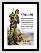 Anuncio 1951 US Army guerra coreana reclutamiento Negro enmarcado Art Print B12X10497
