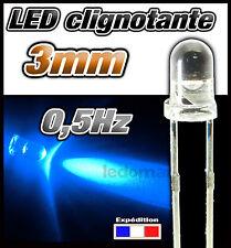 222B# LED 3mm clignotante bleu dispo 10, 25, ou 100pcs clignotement lent