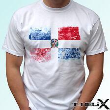 República Dominicana Bandera-Blanco T camisa Top-Para Hombre Para Mujer Kids & Baby Tamaños