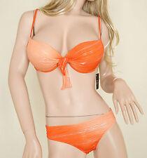 BIKINI COSTUME Donna Moda MARE 2Pezzi Reggiseno PUSH UP + Slip ARANCIO e ARGENTO