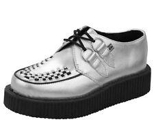 T.U.K. A8523 TUK Shoes Mondo Lo Sole Creeper argento in pelle punta tonda Unisex