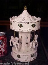 """LG 10+""""T MUSICAL Porcelain CHRISTMAS Carousel MERRY-GO-ROUND Horses ORNATE 3D!"""