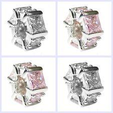Sterling Silver Hexagon CZ Crystal Birthstone Bead for European Charm Bracelet