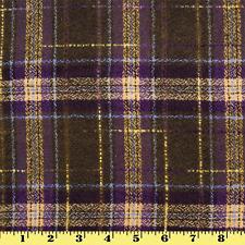 Wool Plaid Fabric by Yard Olive w/ Purple & Yellow Stripes (Winter Coat)