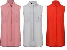 ex High Street Women Blouse Chiffon Sleeveless Ladies T Shirt Casual Loose Tops