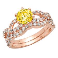 1.55 Round Halo Yellow Stone Promise Bridal Ring Band set Curved 14k Rose Gold