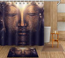 "72/79""Fabric Shower curtain-Buddha Statue-Bath Flannel Mat Rug 12hook 4109"