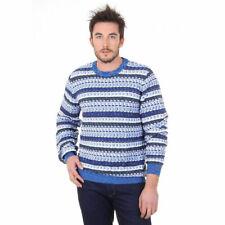 Missoni Para Hombre Suéter Jumper de punto de algodón de cuello redondo azul/blanco Talla XXL RRP £ 320