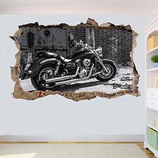Negro Y Blanco Moto 3D se estrelló Pared Adhesivo Calcomanía Mural Decoración De Habitación