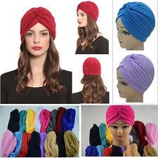Women Men Stretchy Turban Head Wrap Band Chemo Bandana Hijab Pleated Indian Caps