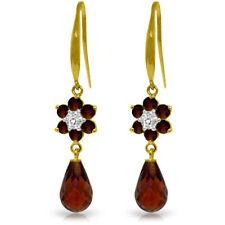 Genuine Red Garnet Gems & Diamonds Flower Dangle Hook Earrings in 14K Solid Gold