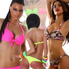 Bikini costume bagno donna moda mare COLORI FLUO due pezzi PUSH UP lacci B2930