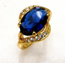Women New 24K Yellow Gold Plated CZ Ring Engage Birthday Xmas Valentine Blue L