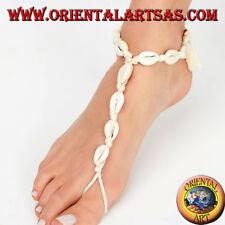 Cavigliera baciapiede portafortuna con conchiglie cauri  regolabile