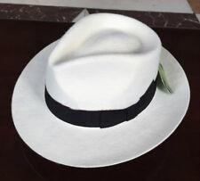 New Unisex White/Black Women Men's Classic Wool Felt Mafia Fedora Hat Godfather