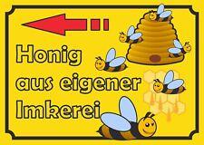 Verkaufsschild Honig links, zu verkaufen, Imker, Bienen, eigene Herstellung