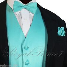 Men's Turquoise Tuxedo Suit Dress Vest Waistcoat & Straight Cut Bowtie & Hanky