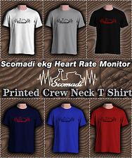 Mens Crew Neck Scomadi ekg flatline heart rate monitor T Shirt,  BNWT