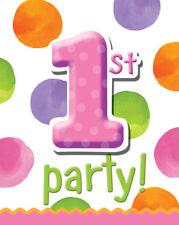 Girl 1st Birthday Polka Dots Party Supplies Invitations