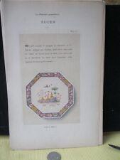 Vintage Print,ROUEN 15,Faience,1872,French,Litho