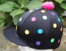 RIDING Hat Silk Skull cap Cover BLACK * MULTI SPOTS * With OR w/o Pompom