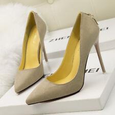 zapatos de salón mujer 10 ante tacón de aguja elegantes beige como piel 9658