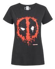 Marvel Comics Deadpool Splat Logo S-XXXL Women's Black T-Shirt