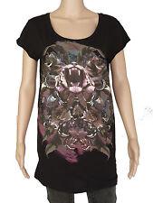 NEW Firetrap womens Size XS S black long fit top scoop neck t shirt