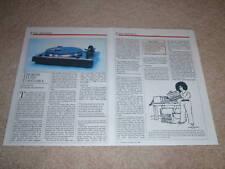 Thorens TD 320 Turntable Review, 1986, 2 pgs, Full Test