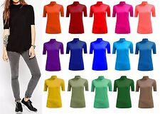 Donne signore Plain Polo Tartaruga Collo Stretch Corta Maniche 3/4 Top Shirt 8-26