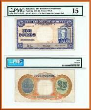 1936 Bahamas Gov't King George VI £5 Note, V Rare P-12a