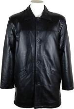 UNICORN Mens Classic Box Coat Real Leather Jacket Black #AF