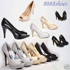 Women's Sexy Silver Glitter Peep Toe High Heel Platform Bridal Evening Shoes