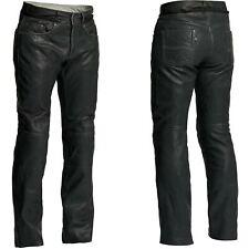 HALVARSSONS Seth hommes délavé souple cuir noir pantalon moto