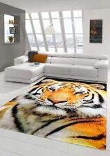 Designer Teppich Moderner Teppich Wohnzimmer Teppich Tiger Orange Creme Schwarz