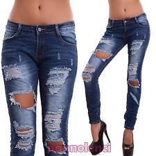 Jeans donna pantaloni strappi skinny ripped slim aderenti sexy nuovi A1233