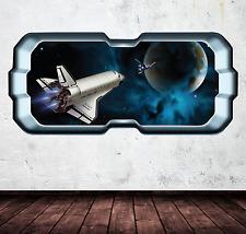 Space Wall Decal Rocket Shuttle Window Planet Wall Art Sticker Decal WSD263