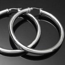 1 Paar große  Edelstahl Creolen Ohrringe 3mm & 5,3mm Größe Ø25-75mm Rund Oval