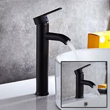Matte Black Mixer Round Bathroom Vanity Basin Faucet Counter Top Lavatory Tap