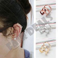 Silver Gold Bronze Ear Clip Cuff Earring No Piercing Upper Helix Cartilage Clip