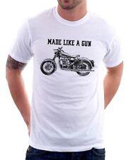 Royal Enfield-made come una pistola T-Shirt Logo-Retrò Motocicletta Bianco OZ01532
