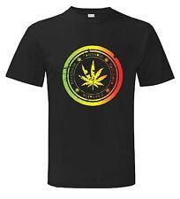 Camiseta de hoja de cannabis-marihuana Ganja Spliff Rasta Bong fumar-S a XXXL