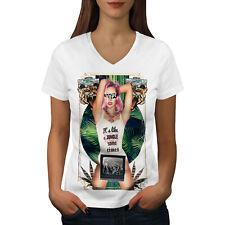 Wellcoda It's Like Jungle Fashion Womens V-Neck T-shirt, Hype Graphic Design Tee
