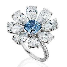 Antique 14K White Gold Aquamarine Floral Flower Ring Women Wedding Jewelry 6-10