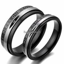 "Black Stainless Steel ""Bless Our Love"" Men's Women's Rings Wedding Band New"